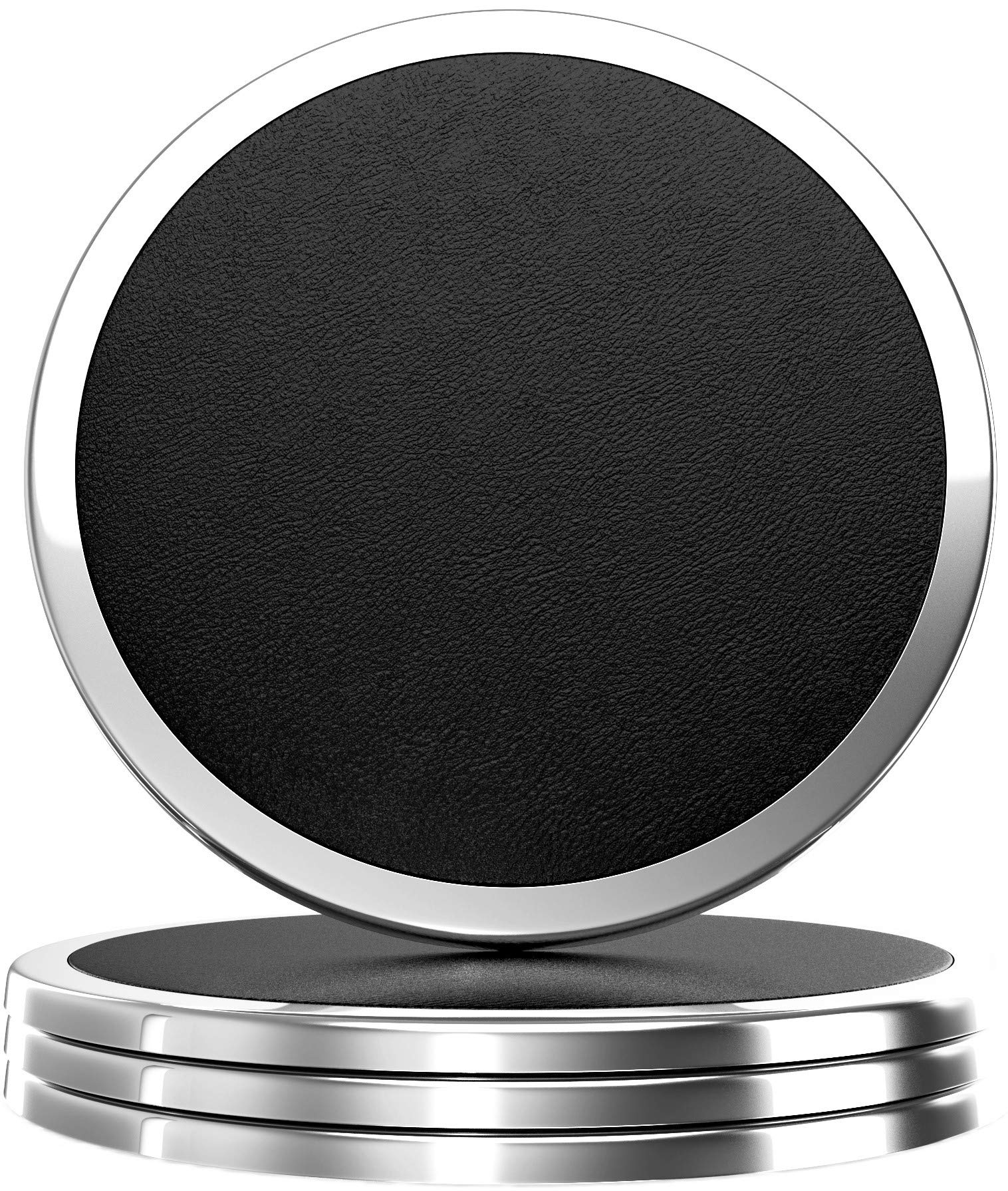 YouShop Luxury Coasters for Drinks - Premium Metal, Black Leather, Velvet Base | Contemporary and Clean Style, Modern Coaster Set for Living Room, Kitchen, or Office Cup Coasters | Protect Furniture