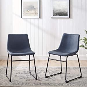 Walker Edison Furniture AZHL18BU Modern Faux Leather Upholstered Dining Chair, Set of 2, Navy Blue