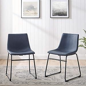 Walker Edison Furniture AZHL18BU Modern Faux Leather Upholstered Dining Chair, Set of 2, Navy Blue