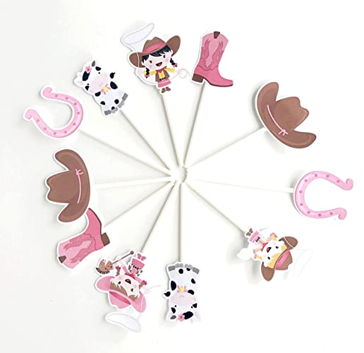 Cowgirl Cupcake Toppers 12 Pcs Pink Western Cake Picks Birthday Decoration Party Supplies Girl Baby Shower Themed