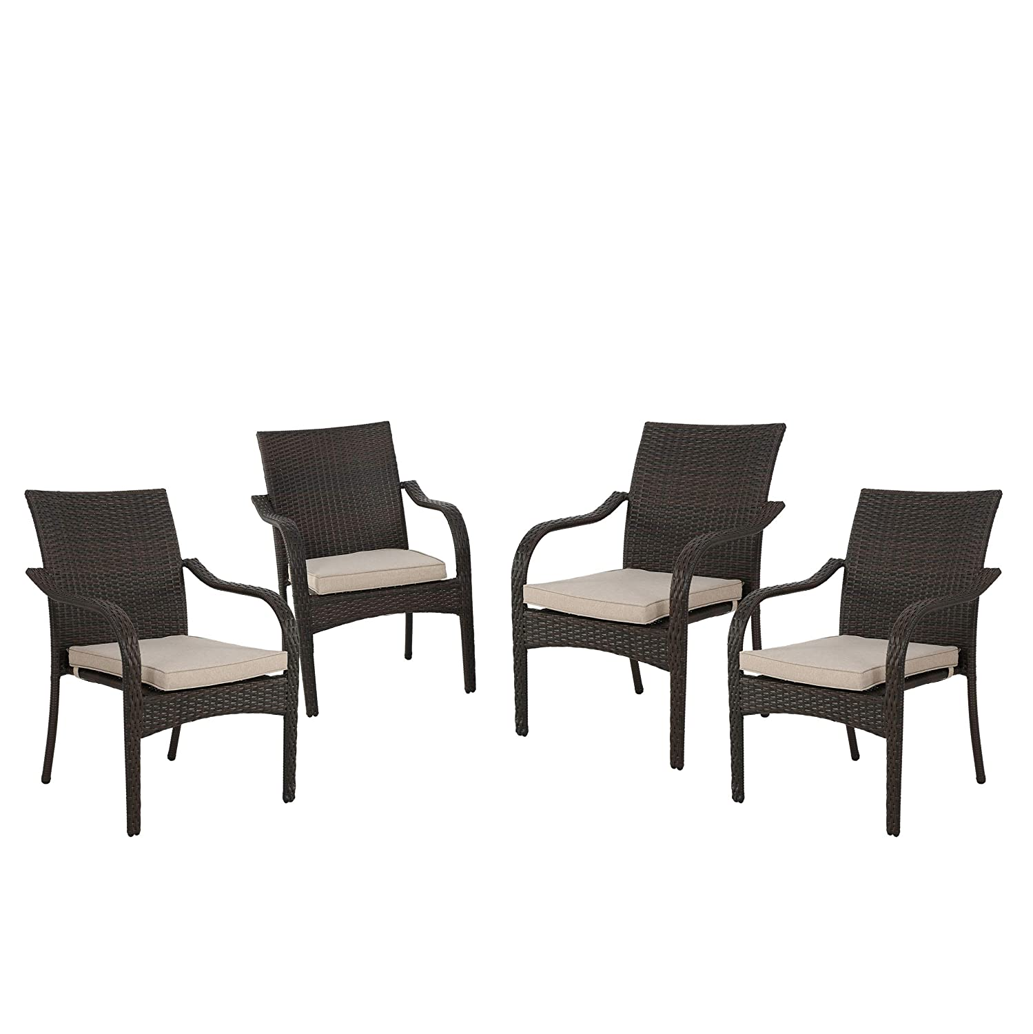 Christopher Knight Home 299455 Florianopolis Brown Wicker Stacking Chairs Set of 4 , Multibrown and Textured