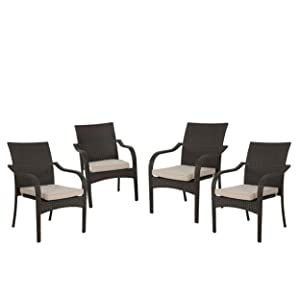 Christopher Knight Home 299455 Florianopolis Brown Wicker Stacking Chairs (Set of 4), Multibrown and Textured