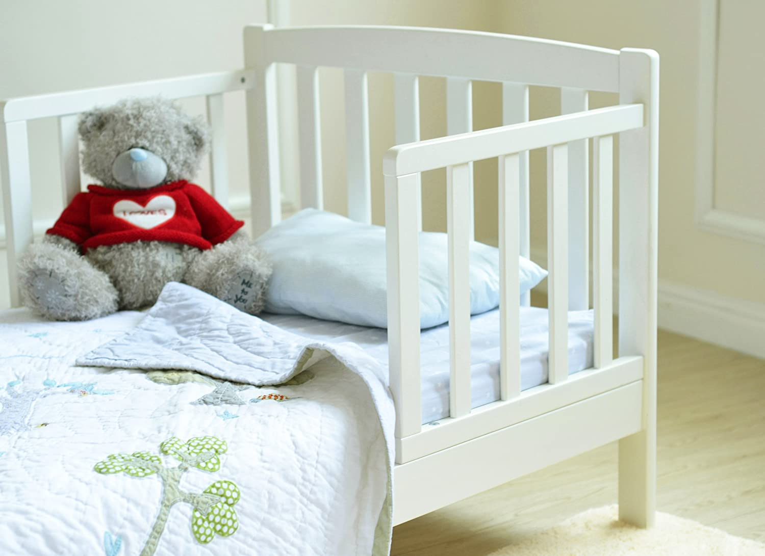 MCC White Solid Wooden Junior Toddler Kids Bed With Foam Mattress Amazoncouk Baby