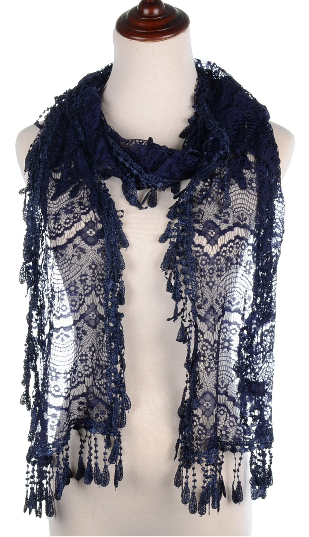BYOS Womens Delicate Victoria Vintage Inspired Fan Pattern Lace Scarf (Navy)