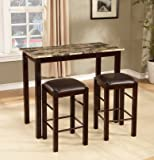 Roundhill Furniture Brando 3 Piece Counter Height Breakfast Set, Espresso  Finish
