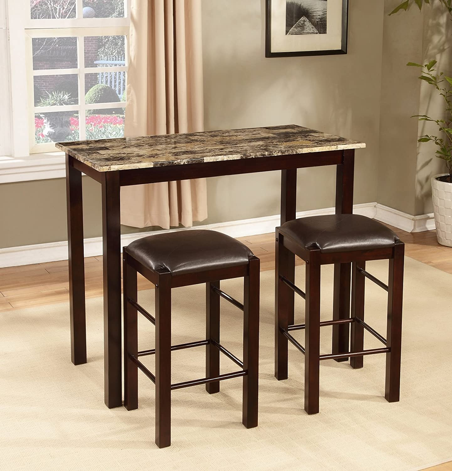 amazoncom roundhill furniture brando 3 piece counter height breakfast set espresso finish table chair sets - Breakfast Table With Chairs