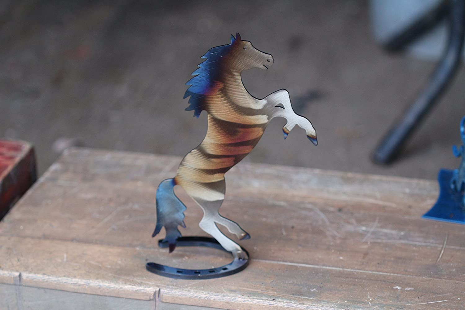 9 Hand-Forged Wrought Iron Horse Sculpture