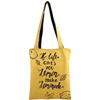 THE GREEN CHAPTER Women's Canvas Sturdy Heavy Zipped Bag (Yellow)