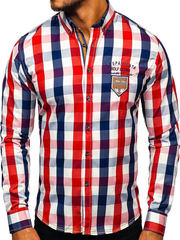 BOLF 2B2 - Camisa para hombre, elegante, estampada, manga larga, corte ajustado Rojo_1766-1 M: Amazon.es: Ropa y accesorios