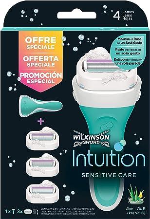 Wilkinson Sword Pack Intuition Sensitive Care - Maquinilla depilatoria y enjabonadora femenina Intuition + 3 cuchillas autoadaptables con cintas de seda hidratantes