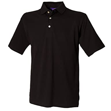 Henbury Mens Classic Plain Polo Shirt With Stand Up Collar (XS) (Black)