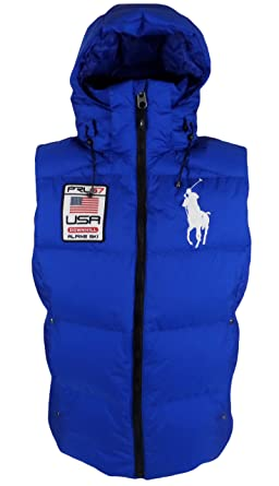 Polo Ralph Lauren Men\u0027s Big Pony Alpine Ski Patch Puffer Vest, Sapphire  Star, Medium at Amazon Men\u0027s Clothing store: