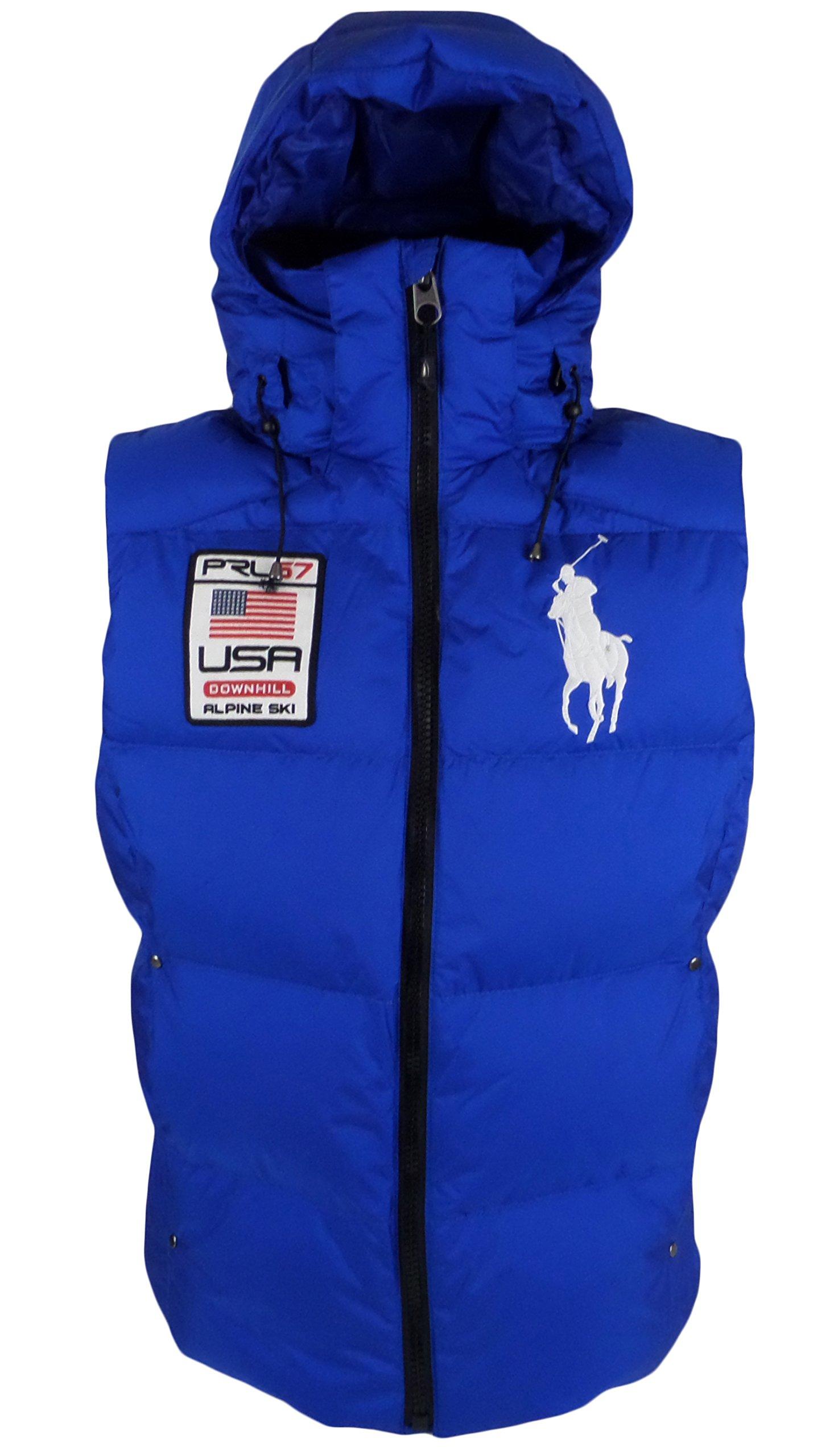NEW Polo Ralph Lauren Big Pony Alpine Ski Patch Puffer Vest, Sapphire Star, XL