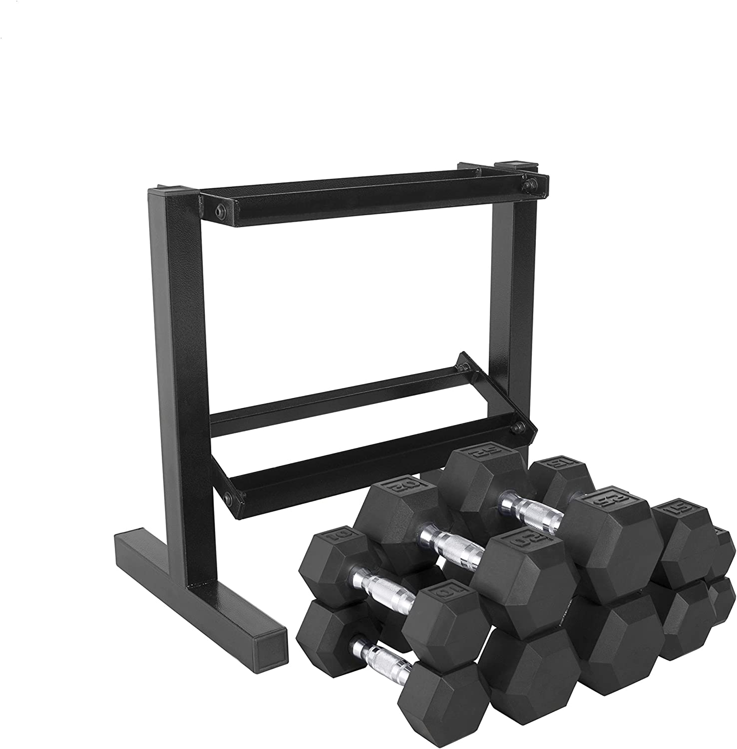 CAP Barbell Hex Dumbbell 150-Pound Weight Set, 5-25 Pounds with Rack
