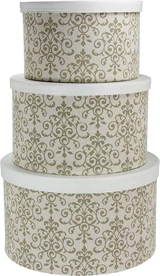 12 x sets of HAT BOXES SET OF THREE IN GREY FLOWER BOX FLOWERS fabulous deal
