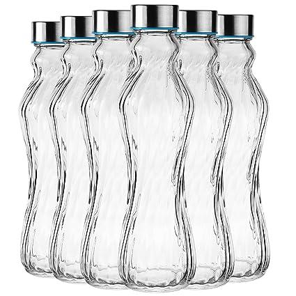 Botella de cristal Set Botella botella de agua con tapa de acero –