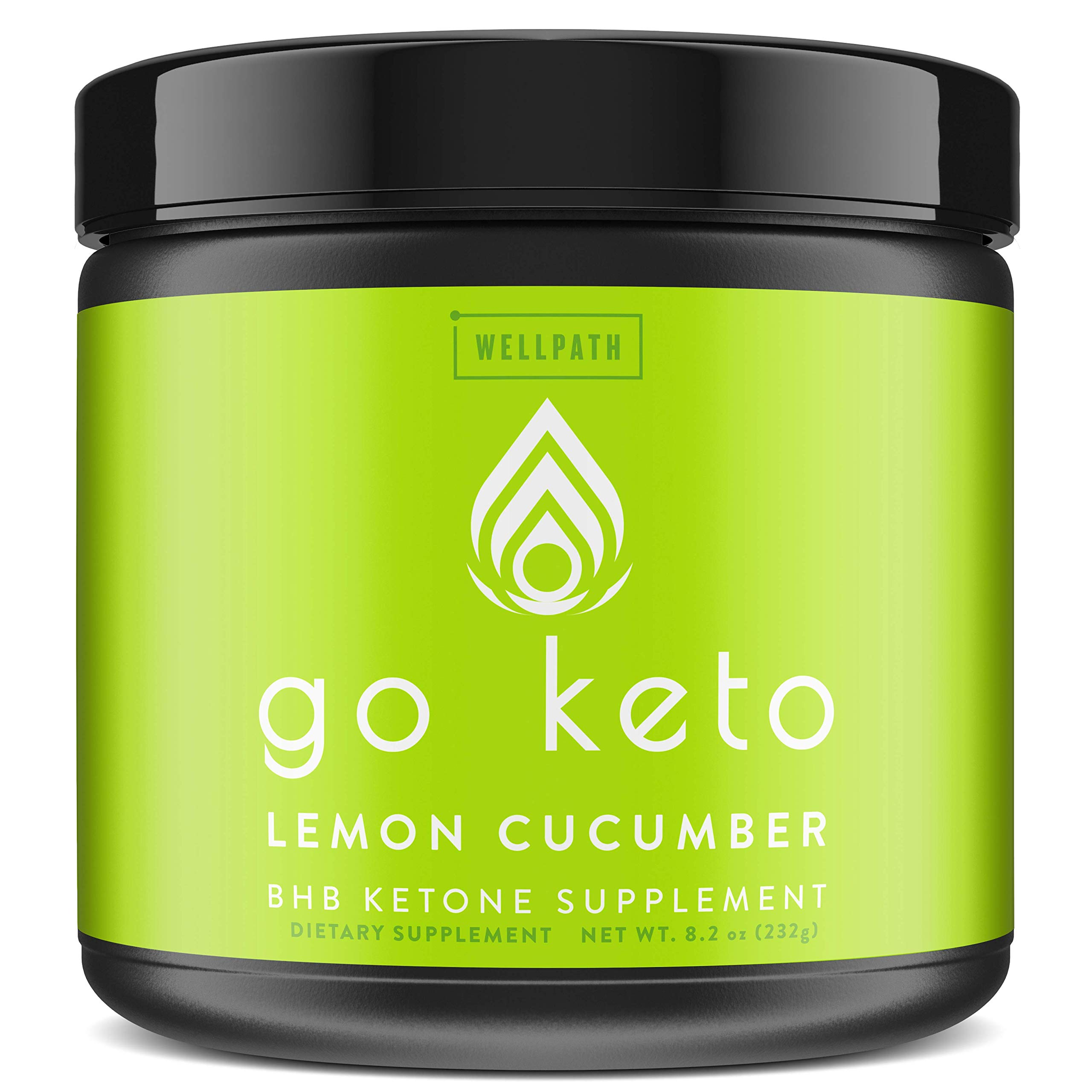 Go Keto Exogenous Ketones Powder Supplement - BHB Salts for Ketogenic Diet to Support Fat Burn, Weight Loss, Energy Boost, and Maintaining Ketosis - Lemon Cucumber Flavor, 16 Servings by WellPath