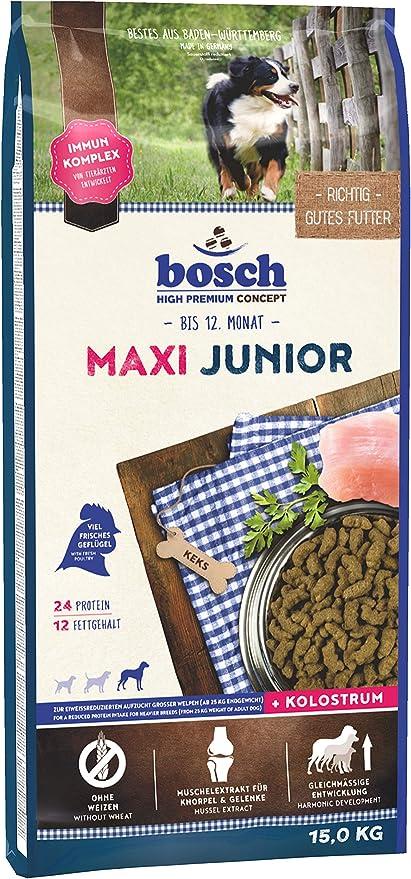 bosch HPC Maxi Junior | Comida seca para la cría de perros jóvenes de razas grandes | Reducido en proteínas