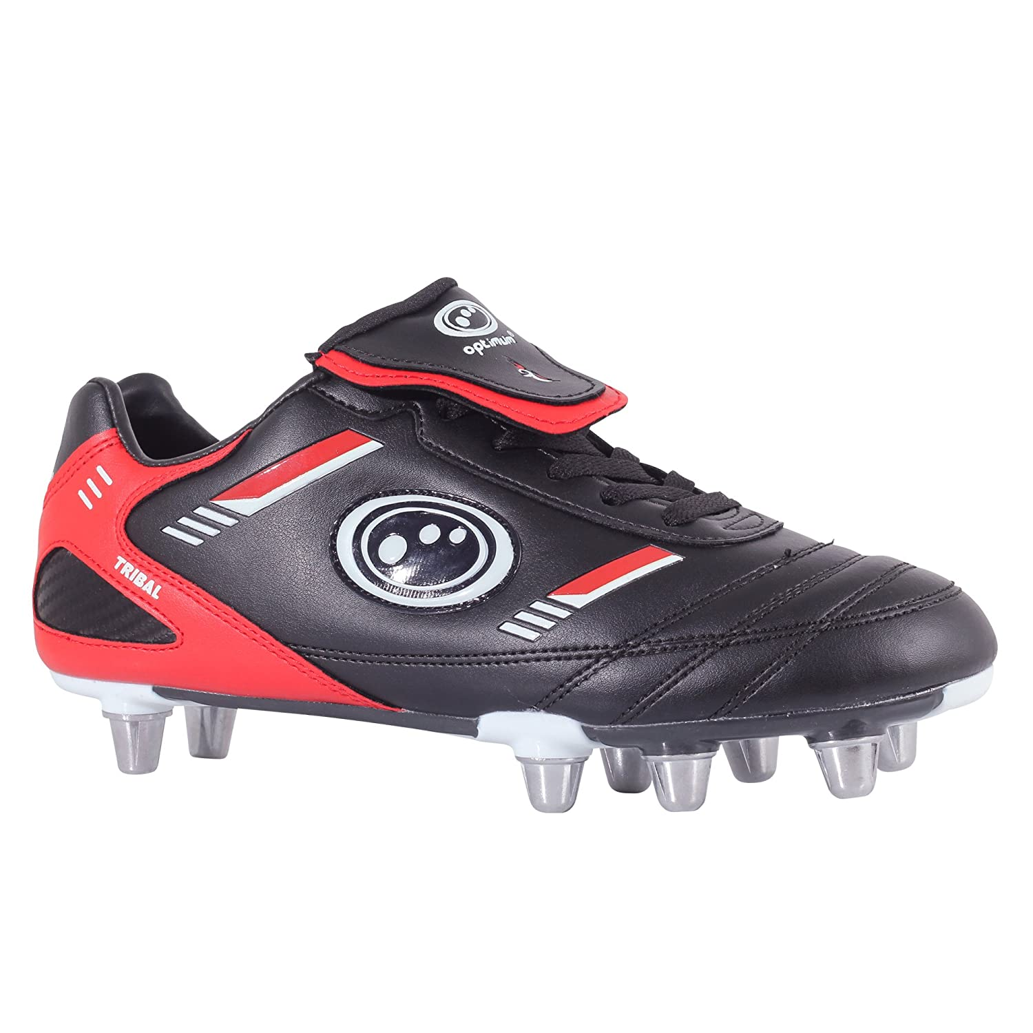 Optimum Mens RBTBRS7 Tribal Rugby Boots - Black/Red, 7 UK, 40 EU
