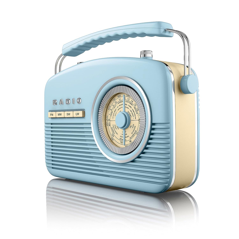 Akai A60010Bl Portable 4 Band Retro FM Radio, 14 W - Blue: Amazon.co ...