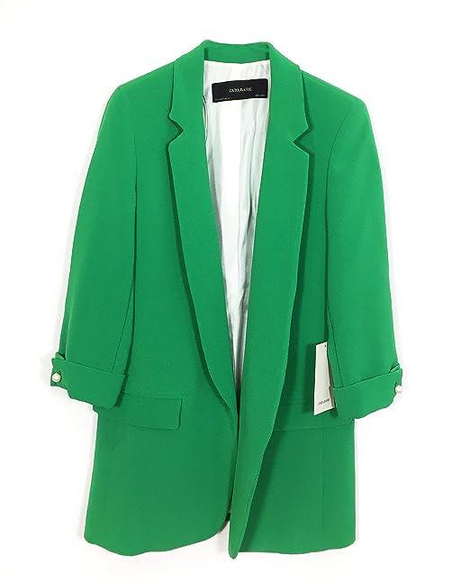 Zara Chaqueta de traje - para mujer Verde verde L: Amazon.es: Ropa y accesorios
