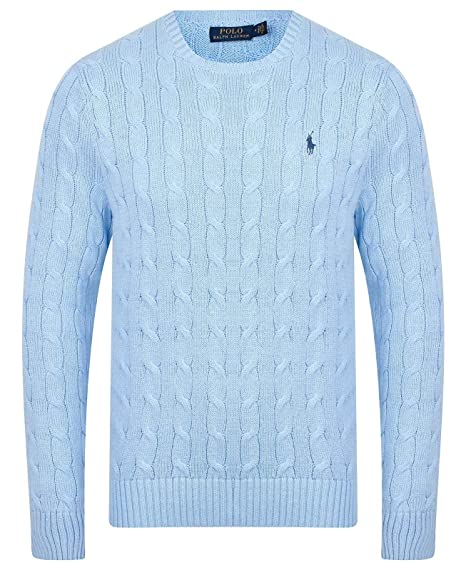 46361574df7 Ralph Lauren Polo Mens Crew Neck Cable Knit Jumper (Large, Light ...