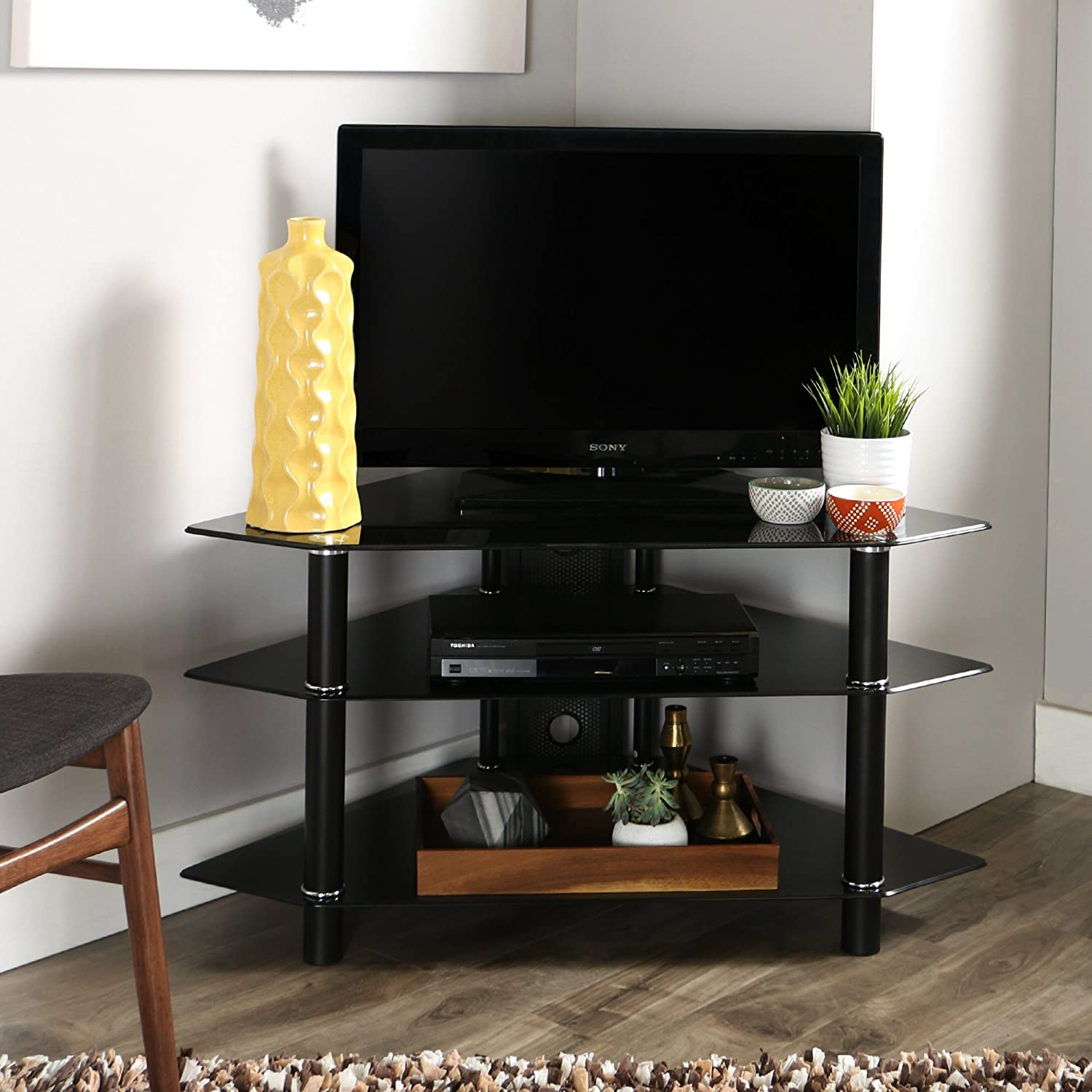 Amazon Com Walker Edison 44 Glass Corner Tv Stand Black Furniture Decor
