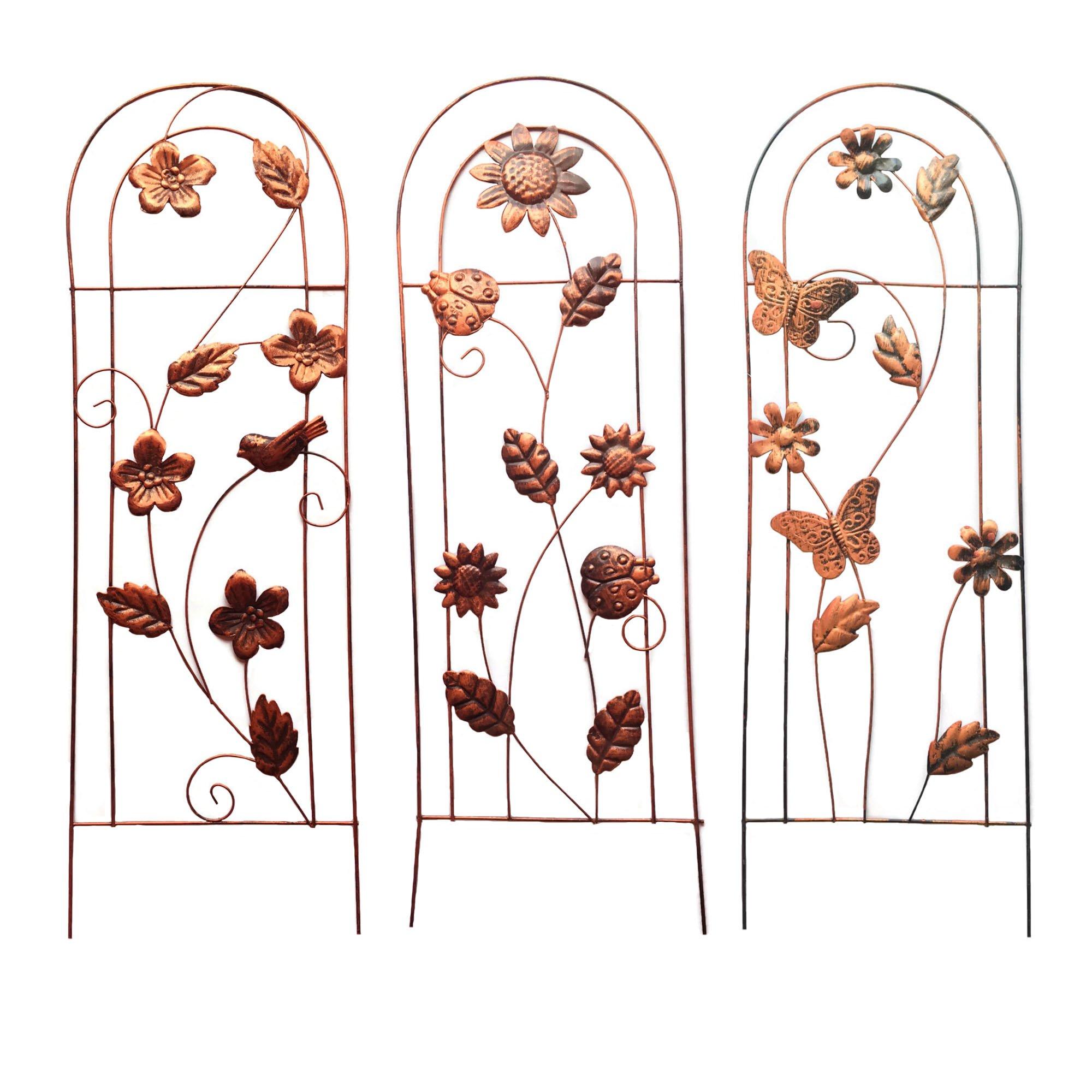 Garden Trellis For Climbing Plants & Vining Flowers Bundle: Three Items: Assortment Of 3 26'' x 9'' Metal Stake Garden Trellises