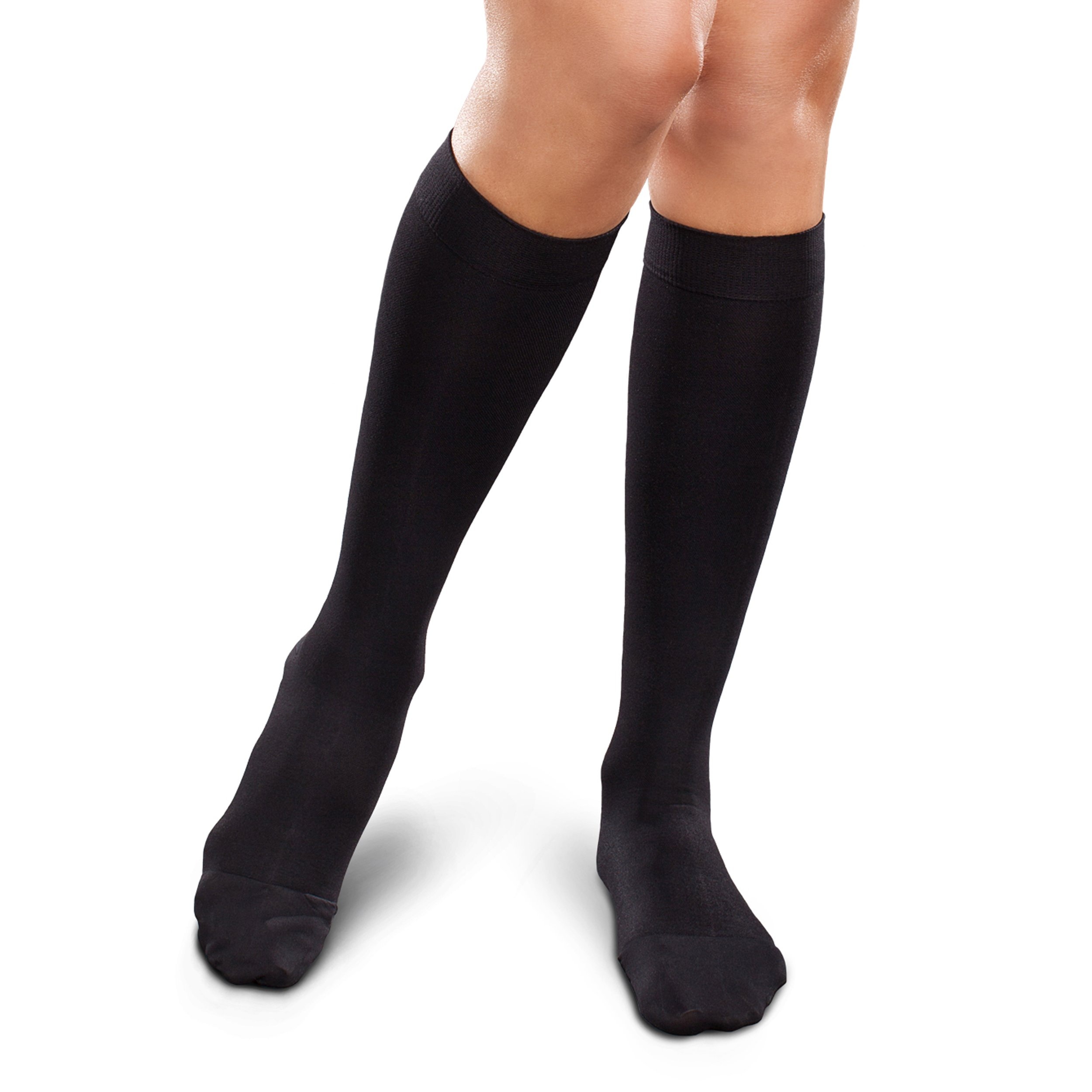 Therafirm Opaque Women's Knee High Support Stockings - Mild (15-20mmHg) Graduated Compression Nylons (Black, Medium Short)