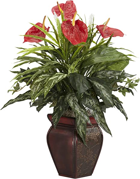 Nearly Natural 6678 Mixed Greens And Anthurium With Vase Decorative Silk Plant Green Home Kitchen