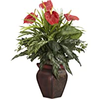 Nearly Natural 6678 Mixed Greens and Anthurium with Vase Decorative Silk Plant, Green