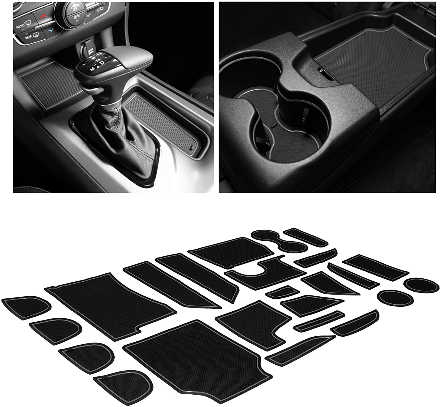 Gray Trim Door Pocket Liners 29-pc Set CupHolderHero fits Dodge Charger and fits Chrysler 300 Accessories Interior Non-Slip Anti Dust Cup Holder Inserts 2011-2014 Center Console Liner Mats