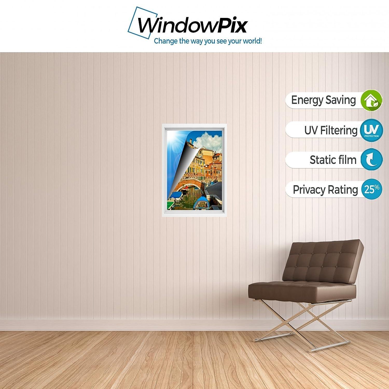 WindowPix 省エネウィンドウフィルム バルセロナの狭い路地剥がして貼るだけ 静電気防止 UV保護 ウィンドウガラスパネル用クリアフィルム印刷 1037 12 by 12