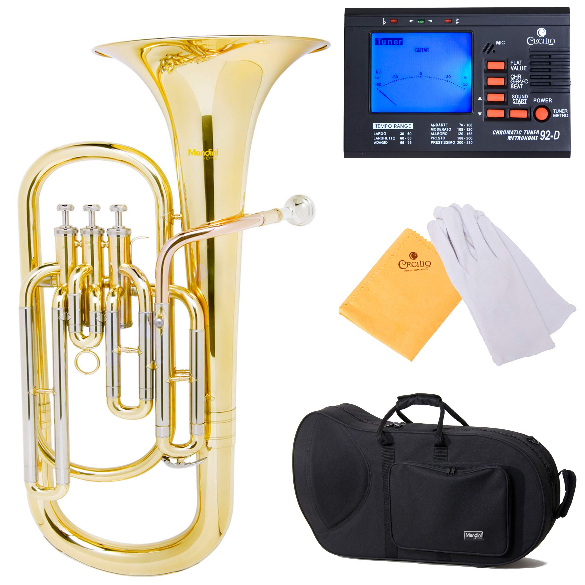 Mendini MBR-20 Lacquer Brass B Flat Baritone with Stainless Steel Pistons by Mendini by Cecilio
