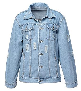 e443cfd660f Jusian Women s Denim Jacket Classic Jeans Jacket Washed Denim Coat Hole Jean  Denim Shirt Small Blue