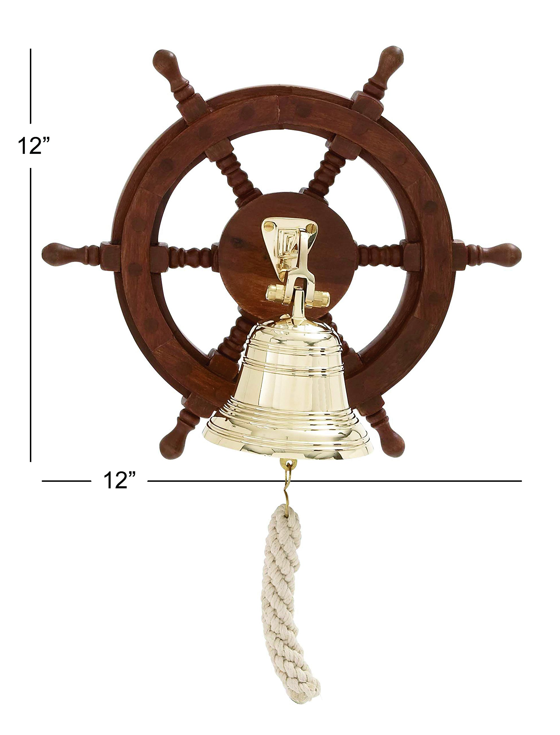 Deco 79 Wood Ship Wheel Bell, 12 by 12-Inch