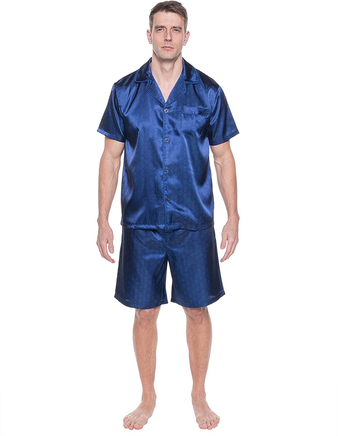 Noble Mount Twin Boat Mens Satin Short Sleepwear/Pajama Set