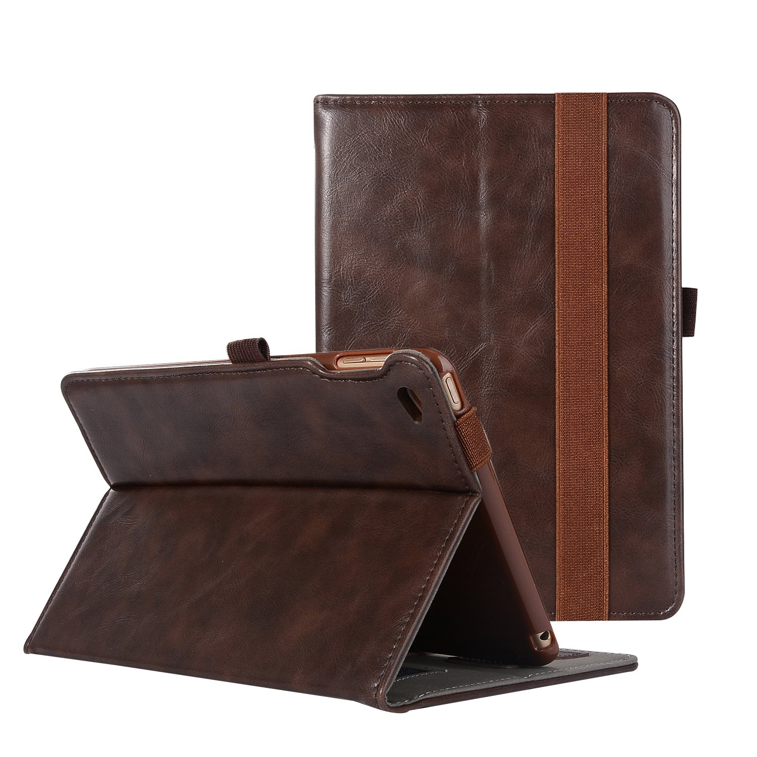 iPad Mini 4 Case, ZAOX Premium Leather Folio Stand Protective Slim Wallet Card Holder Smart Cover with Functional Hand Elastic Strap Multi-Angle Viewing Shell for Apple iPad Mini 4 (Vintage Brown)
