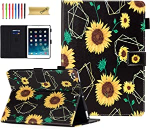 iPad Case 9.7 Inch 2017 2018/iPad Air Case/iPad Air 2 Case, Dteck Compatible with Apple iPad 6th/5th Generation Cases with Pencil Holder, Auto Sleep/Wake, Multi-Angle Stand Cover - Sunflowers
