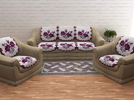 Cloth Fusion Beautiful 10 Pieces Sofa Covers for 5 Seater Sofa and Chairs- Violet