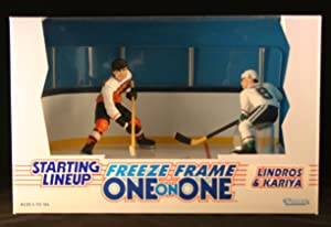 ERIC LINDROS / PHILADELPHIA FLYERS & PAUL KARIYA / MIGHTY DUCKS OF ANAHEIM 1997 NHL * Freeze Frame One-On-One * Starting Lineup Action Figure Deluxe Box Set