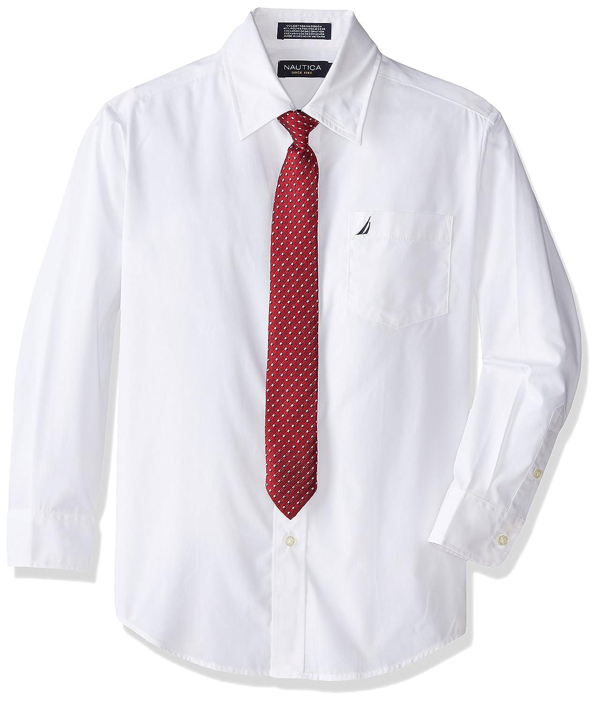 Nautica boys Big Boys Dress Up Poplin Shirt and Tie Set N871006