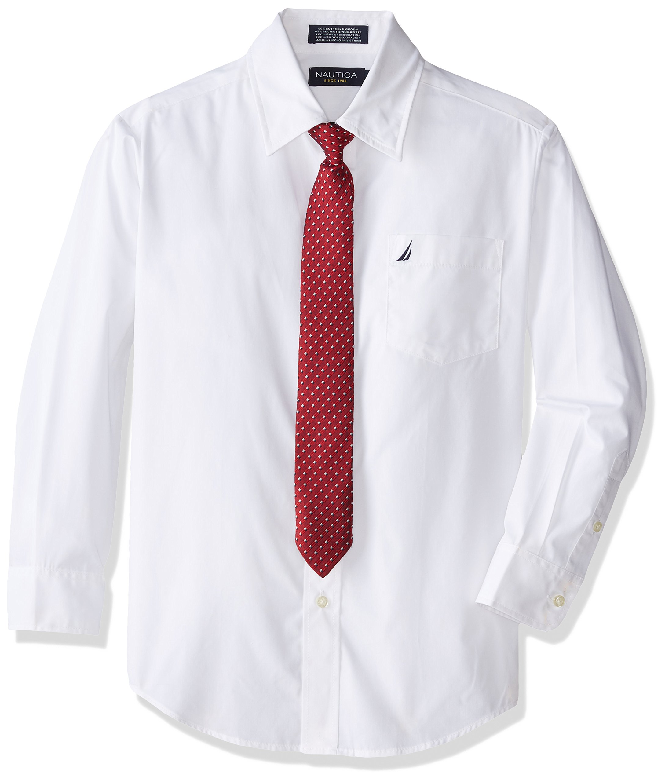 Nautica Dress Up Little Boys' Long Sleeve Solid Shirt, White, 6