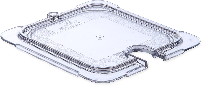 Carlisle 10317U07 StorPlus Sixth Size Polycarbonate Universal Flat Surface Notched Food Pan Lid, Clear