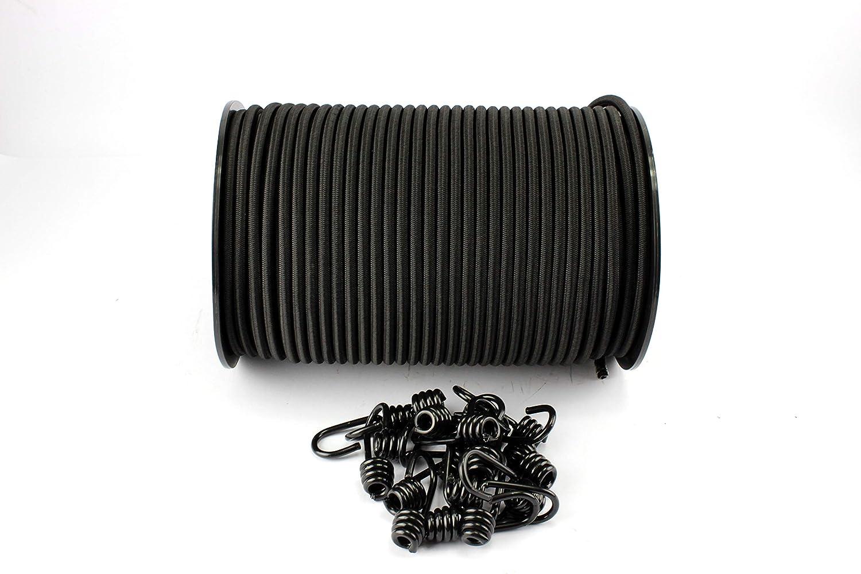 10 Spiralhaken schwarz Gummiseil 20m Expanderseil Ø6mm