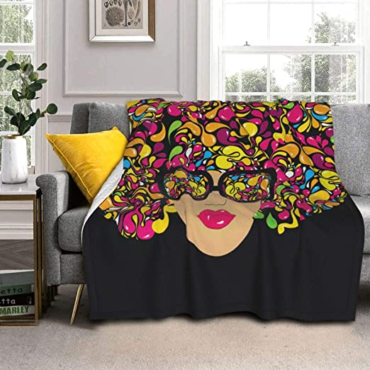AXDF Beautiful Women Wearing Ink Lens Hair Colorful Super Soft Luxury Silver Fox Fleece Lambswool Reversible Blanket Warm and Light Available Home Bed Sofa Dormitory 60x50IN