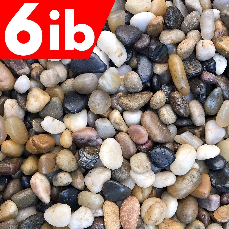 6 Pounds River Rock Stones, Natural Decorative Polished Mixed Pebbles Gravel,Outdoor Decorative Stones for Plant Aquariums, Landscaping, Vase Fillers