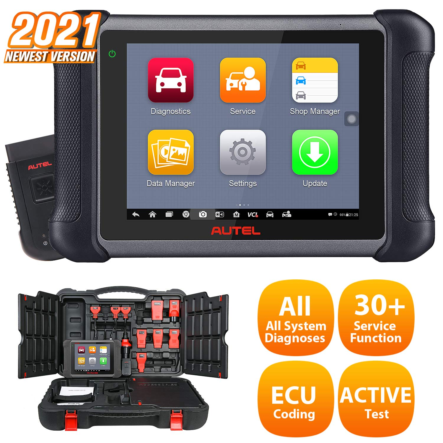 Autel MaxiSys MS906BT Automotive Diagnostic Scan Tool, 2021 Newest Scanner with ECU Coding, Bi-Directional Control, ABS Bleed, Oil Reset, ABS, SRS, DPF, EPB, Advanced Ver. of MS906 DS808 MK808
