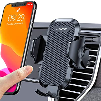 VANMASS Car Phone Mount Easy Clamp, Ultimate Hands-Free Phone Holder for Car Air Vent, Compatible iPhone 11/11 Pro/11 Pro Max/8 Plus/8/X/XR/XS/SE Samsung Galaxy S20/S20+/S10/S9/S8/Note 10