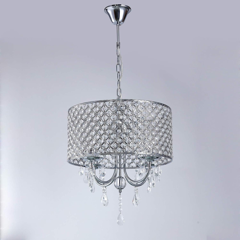 LightInTheBox® Moderne Drum Kronleuchter mit 4 Leuchten Pendelleuchte mit Kristalltropfen in Runde Leuchte Decke für Esszimmer Schlafzimmer Wohnzimmer